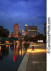 Indianapolis - View of Indianapolis skyline from the Canal...