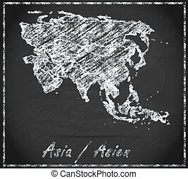 Map of Asia as chalkboard in Black and White