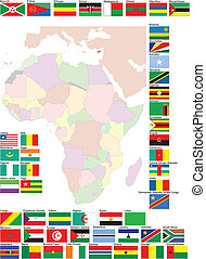 Flags and map of Africa. Vector illustration