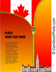 Zipper open Canadian flag. Cover for brochure