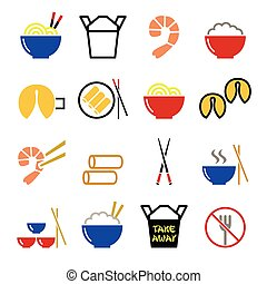 chino, toma, lejos, alimento, iconos, -, pasado,