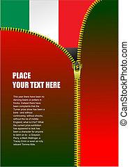 Zipper open Italian flag