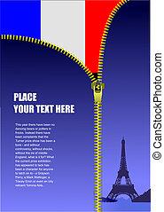 Zipper open France flag