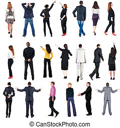 """collection """"Back view of  business people"""". Rear view people set. backside view of person. Isolated over white background."""