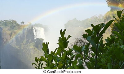 victoria falls waterfall dolly shot - view of victoria falls...