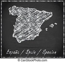 Map of Spain as chalkboard  in Black and White