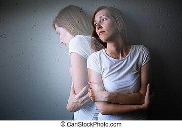 jovem, mulher, sofrimento, De, Um, severo,...