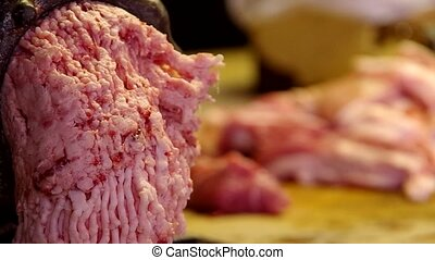 Minced meat in a mincer - Minced meat on an electric grinder...