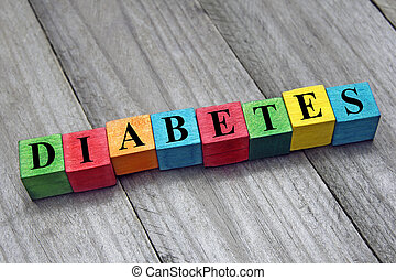 word diabetes on colorful wooden cubes