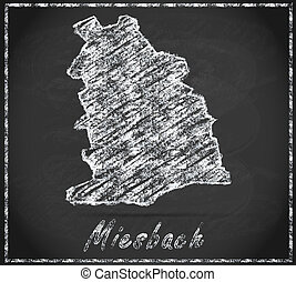 Map of Miesbach as chalkboard in Black and White