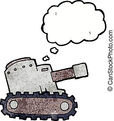 cartoon army tank with thought bubble