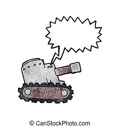cartoon army tank with speech bubble
