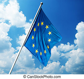 European Union flag on blue sky background