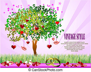 Decorative Valentine`s Day tree with hearts and lips