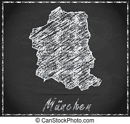 Map of Muenchen as chalkboard  in Black and White