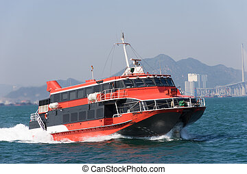 Jetfoil ferry in Hong Kong - Jetfoil ferry ship at Victoria...