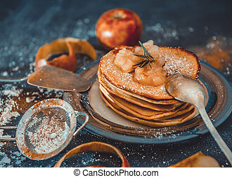 home-cooked pancakes with apple jam