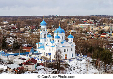 Church of Archangel Michael in Torzhok, view from above -...