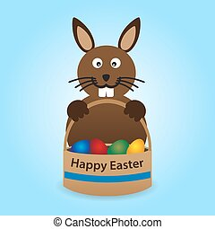 happy easter rabbit with basket full of eggs eps10