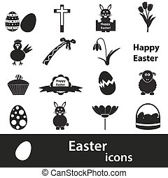 various black Easter icons set eps10 - 16 various black...