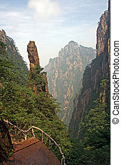 Mountain trail, Huang Shan Mountains, China - Mountain trail...