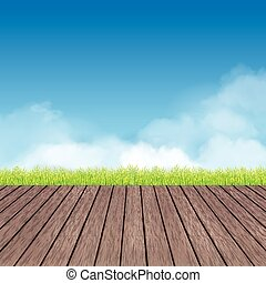 table of wood and rural landscape background