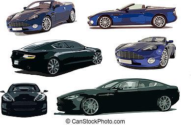 vektor, abbildung, concept-car