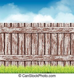 wooden fence with green grass and blue sky