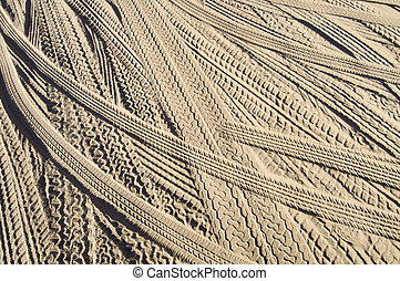 tire tracks in the sand - Car tire tracks in the sand; Utah...