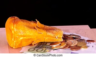 Leather pouch, euro coins and one hundred euro banknotes are...