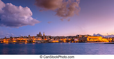 Valetta by night, Malta - Landscape of Valetta and...