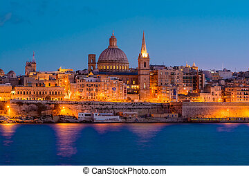 Valetta by night, Malta - Valetta and Marsamxett Harbour The...