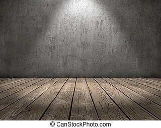Spot light wood floor - Room with concrete wall and wood...
