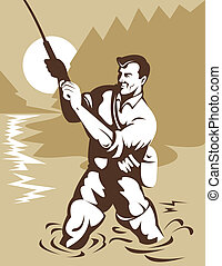 Fisherman with a fly rod in the river - Illustration of a...