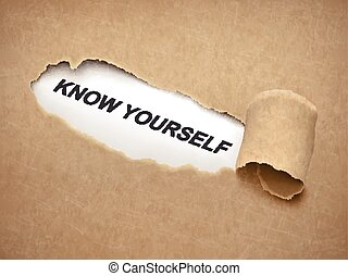 know yourself words behind torn paper - know yourself words...