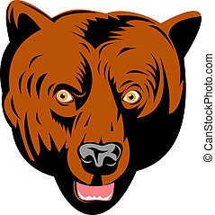Grizzly bear head front view - Illustration of a brown...