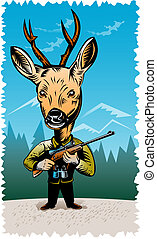Deer hunter with rifle