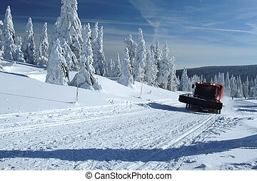 Winter Landscape with a Snow Cat - Winter landscape with a...