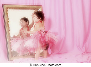 Little Ballerina - Little Girl in Tutu Looking into Mirror...