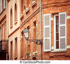 street with old buildings in Toulouse - Narrow historic...