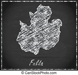 Map of fulda as chalkboard  in Black and White