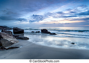 Dawn at Pentewan Sands - A blue dawn at Pentewan Sands beach...