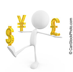 White character with  pound,yen and dollar sign