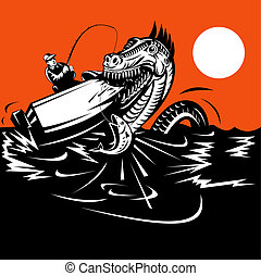 Fisherman caught in the Loch ness monster - Illustration of...