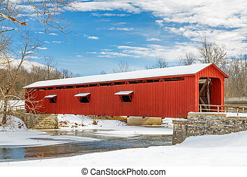 nevado, vermelho, coberto, ponte,
