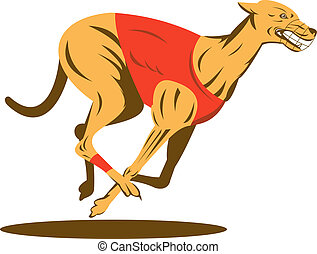 Greyhound racing side view - Illustration of a greyhound...