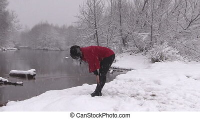 Woman Practicing Yoga in Winter