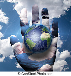 World and human hand