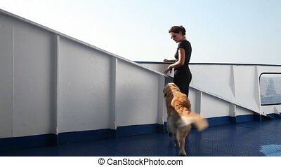 Girl and dogs on board