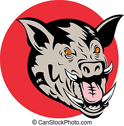 Wild pig\'s head front on - Illustration of a wild pig\'s...
